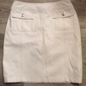 Escada White Fitted Pencil Cotton Blend Skirt